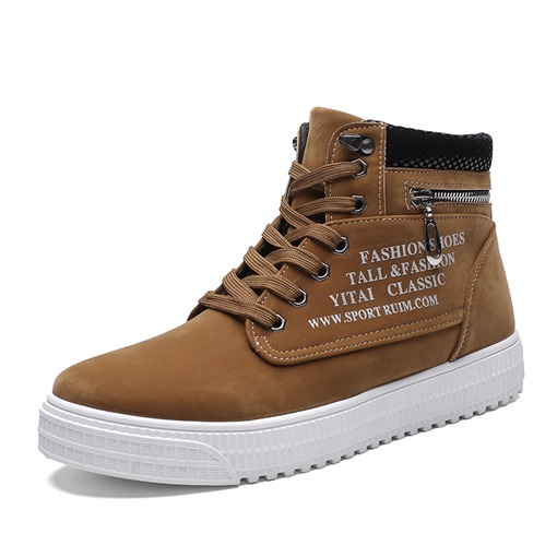 Suede Round Toe Letter Printed Lace-Up Zipper High Top Men's Sneakers