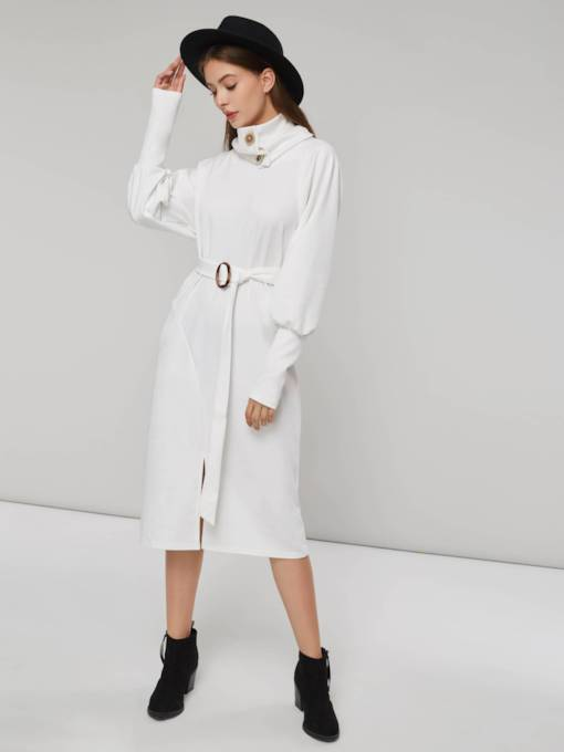 Stand Collar Lace-Up Women's Long Sleeve Dress