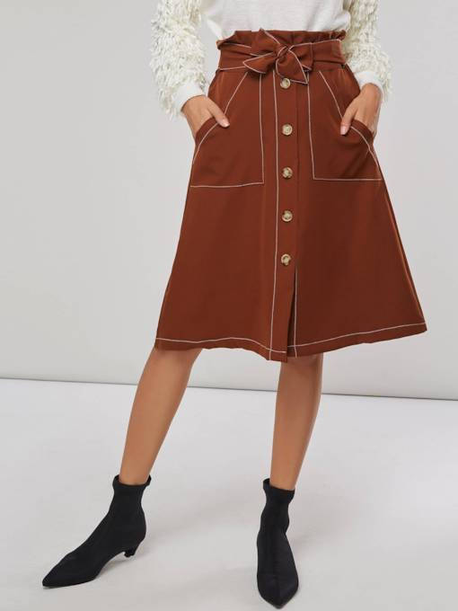 Single Breasted A Line Tie Waist Women's Skirt