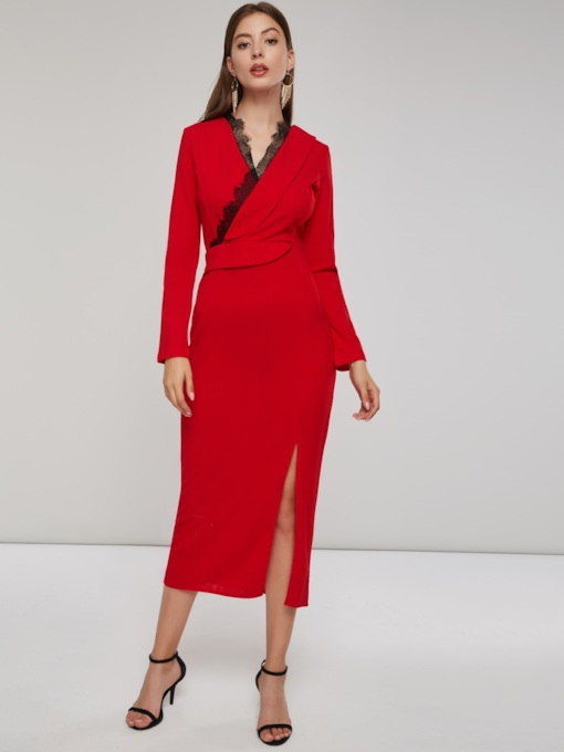 Long Sleeve V-Neck Slit Women's Maxi Dress