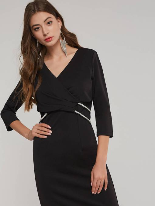 V-Neck 3/4 Length Sleeves Women's Bodycon Dress