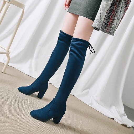Lace-Up Back Chunky Heel Round Toe Casual Plain Knee High Boots