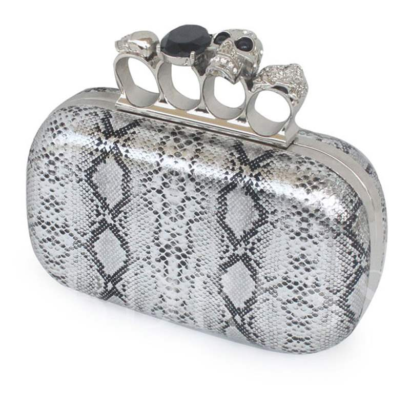 Rhinestone Geometric Color Block Ring Clutch