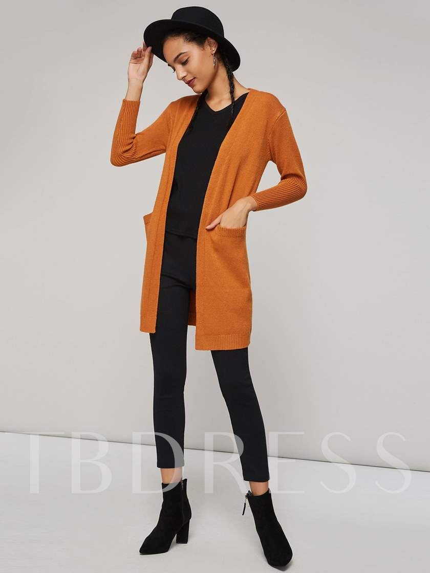 Solid Color Open Front Mid Length Women's Cardigan(Belt Not Included)