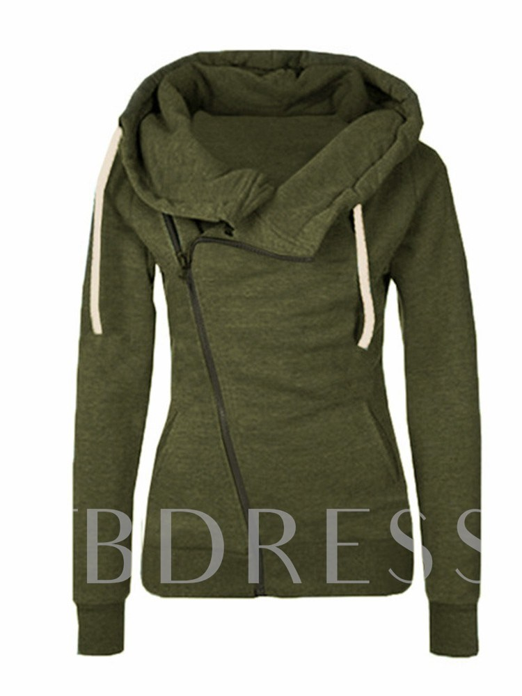 Irregular Zip Up Drawstring Solid Color Women's Hoodie