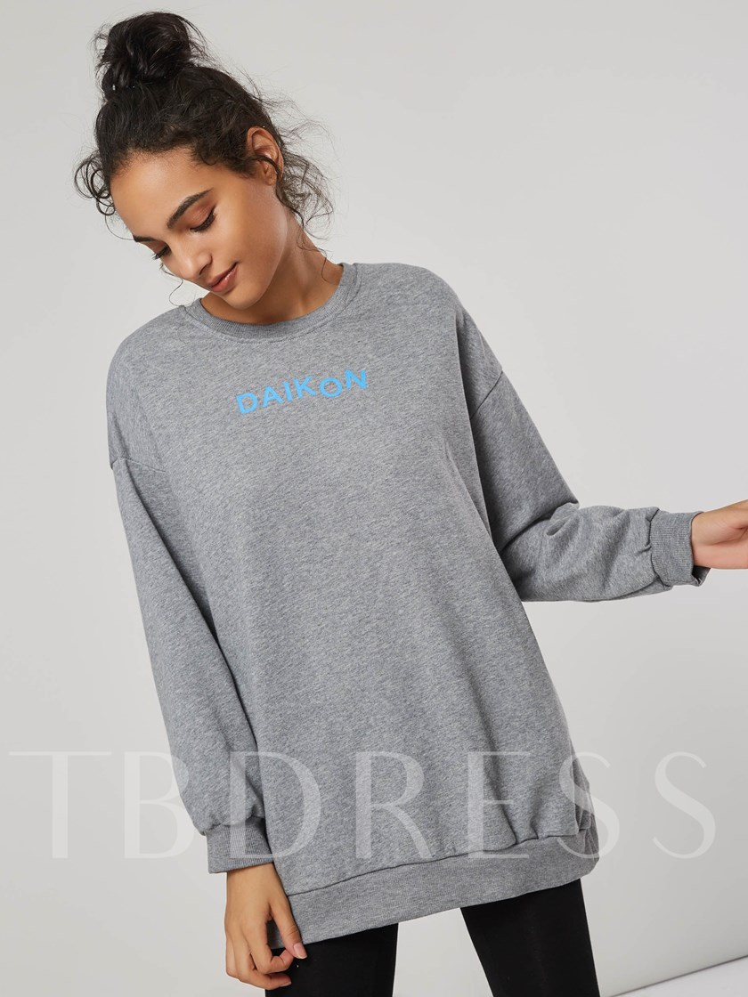 Solid Color Loose Fit Mid Length Women's Sweatshirt