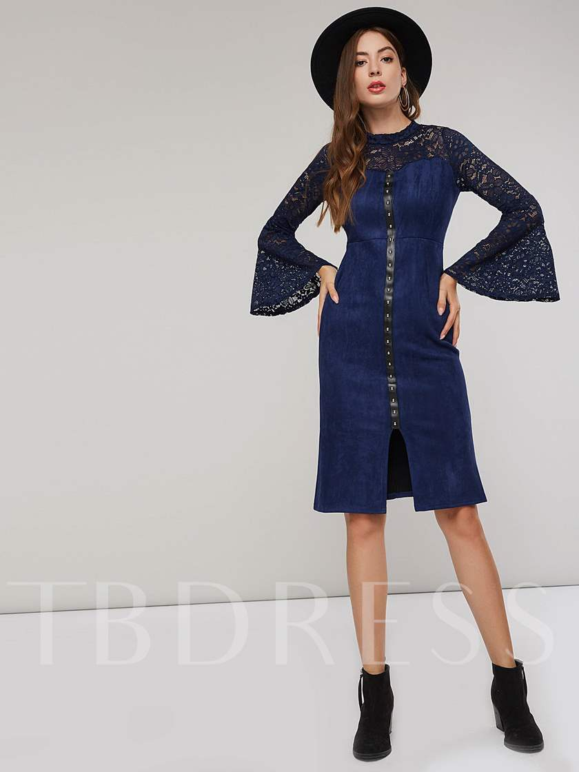 Stand Collar Ruffle Sleeve Women's Lace Dress
