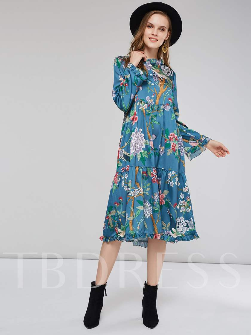 Floral Prints Pullover Women's Long Sleeve Dress