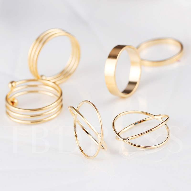Retro Golden Geometric Shape Metal Joint Ring Set