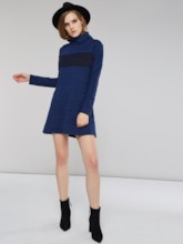 Turtleneck Jacquard Weave Mid-Length Women's Sweater