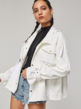 Loose Mid-Length Button Up Drawstring Women's Trench Coat