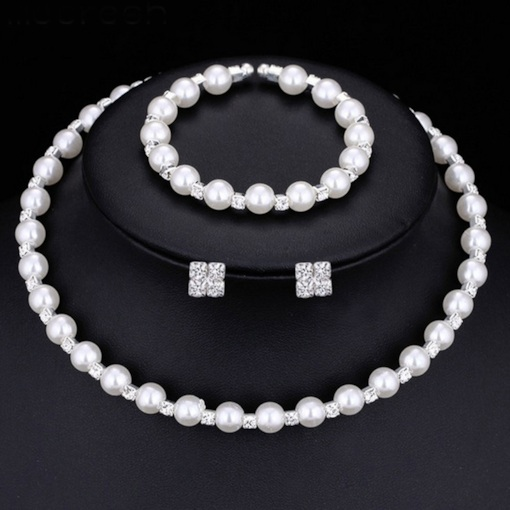 Romantic Handmade Pearl 3 Piece Wedding Jewelry Set