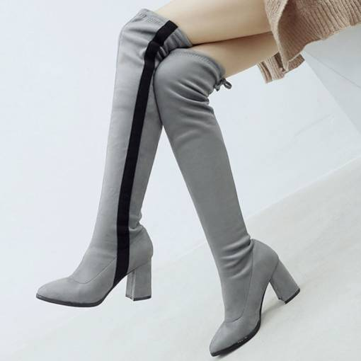 Suede Round Toe Color Block Chunky Heel Lace-Up Back otk Boots