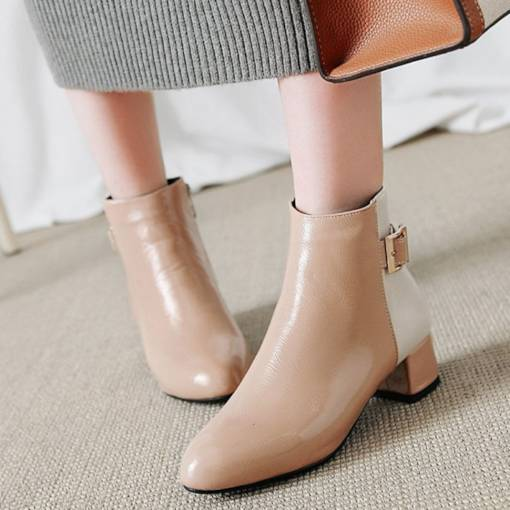 Round Toe Side Zipper Chunky Heel Buckle Fashion Women's Ankle Boots