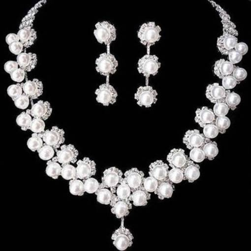 Elegant Pearl Inlaid Rhinestone Wedding Jewely Sets