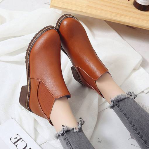 Block Heel Slip-On Round Toe Sewing Trendy Women's Chelsea Ankle Boots