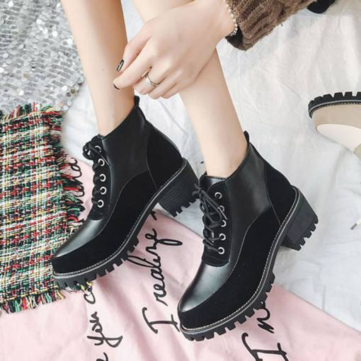 Round Toe Lace-Up Front Block Heel Patchwork Stylish Martin Boots