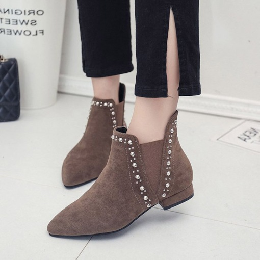 Pointed Toe Low Block Heel Rivet Casual Women's Ankle Boots