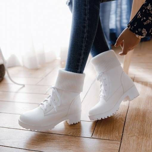 Round Toe Lace-Up Front Block Heel Platform Women's Ankle Boots