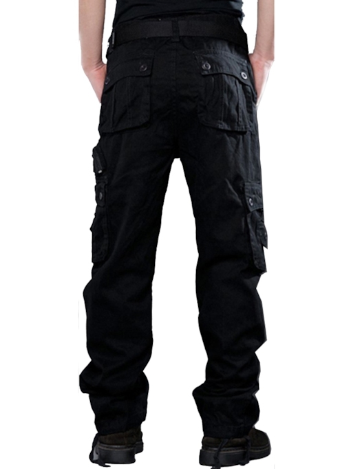 Casual Loose Mid-Waist Pockets Plain Men's Casual Pant