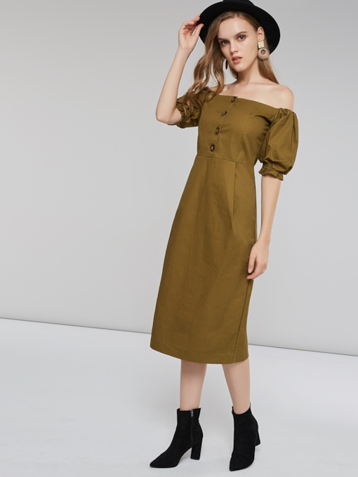 Off Shoulder Pleated Button Women's Day Dress