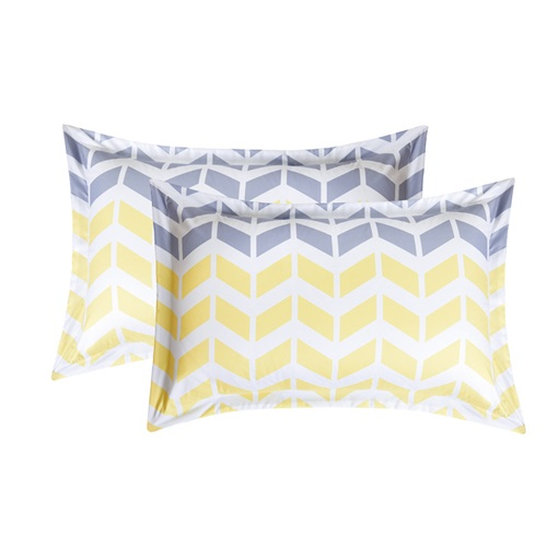 Zigzag Pattern Yellow Printing 4-Piece Polyester Bedding Sets/Duvet Cover