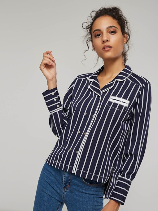 Notch Neck Stripe Single-Breasted Women's Shirt