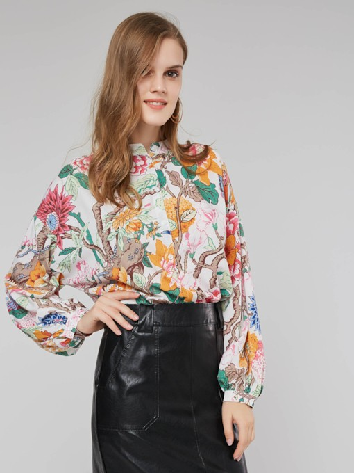 Stand Collar Floral Print Single-Breasted Women's Shirt
