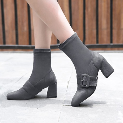 Square Toe Suede Buckle Chunky Heel Slip-On Chic Women's Ankle Boots