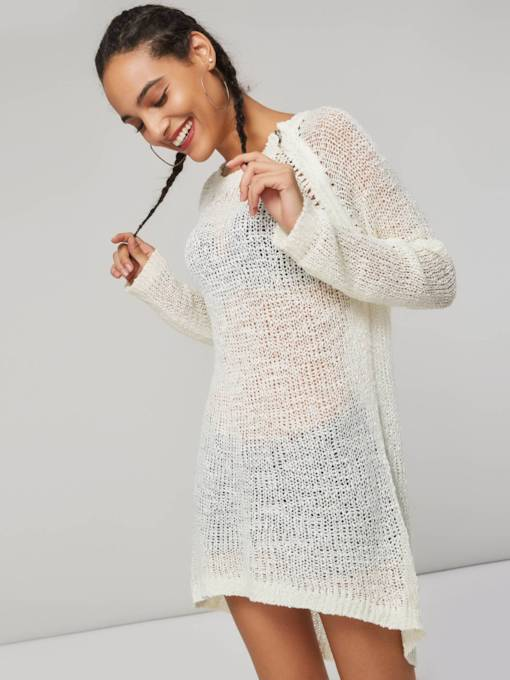 Asymmetric See-Through Mid Length Women's Thin Sweater
