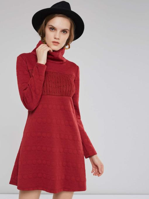 Turtleneck Long A-line Cotton Dress Women's Sweatershirt