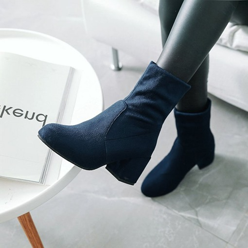 Slip-On Chunky Heel Round Toe Casual Women's Ankle Boots