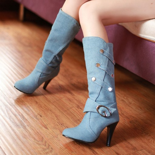 Round Toe Buckle Slip-On Stiletto Heel Denim Women's Mid Calf Boots