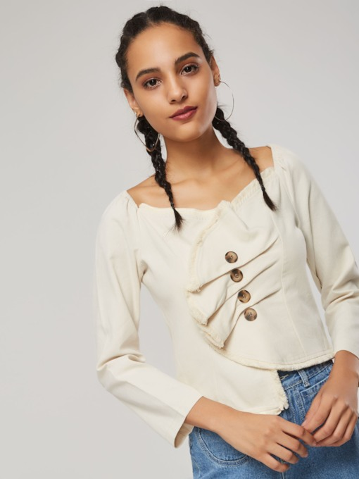 Single-Breasted Peplum Ruched Women's Jacket