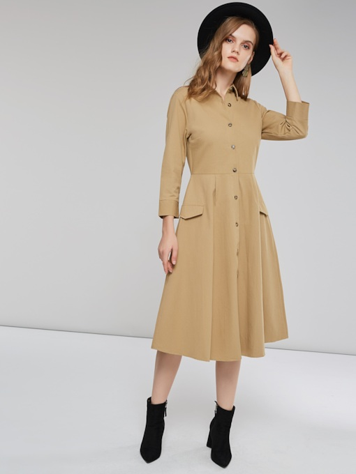 Polo Neck Single-Breasted Women's Long Sleeves Dress