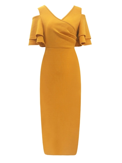 V-Neck Ruffle Sleeve Women's Sheath Dress