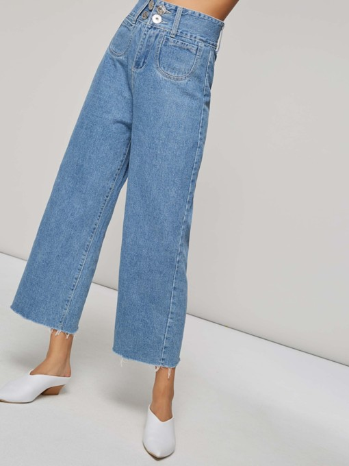 Zipper Button Pocket High Waist Women's Wide Legs Jeans