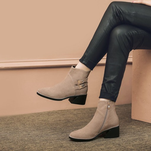 Chunky Heel Side Zipper Buckle Casual Plain Women's Ankle Boots
