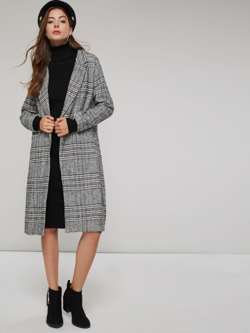 Elegant Long Length Plaid Notched Lapel Women's Overcoat