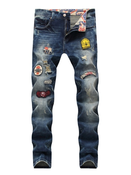 European Straight Worn Zipper Mid-Waist Men's Jean