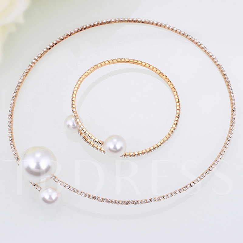 Concise Pearl Full Drill Adjustable Necklace Bangle Jewelry Sets