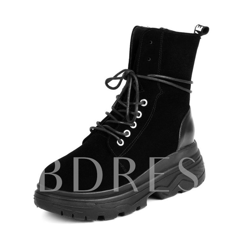 Buy Round Toe Suede Side Zipper Patchwork Cross Strap Women's Martin Boots, Spring,Fall,Winter, 13444186 for $37.99 in TBDress store