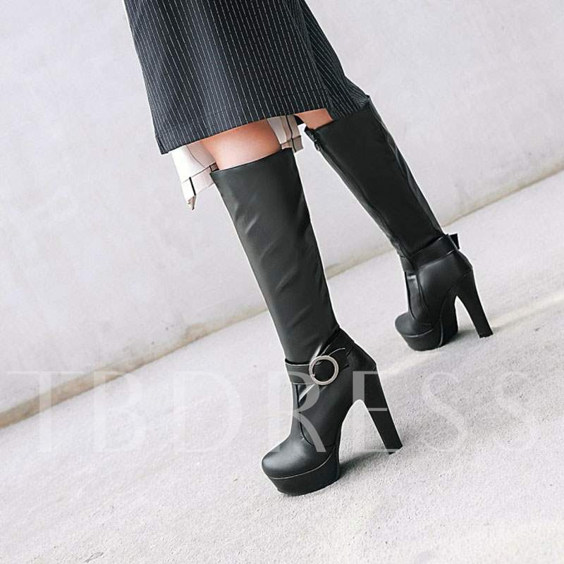 Round Toe Platform Buckle Chunky Heel Side Zipper Knee High Boots