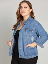 Plus Size Loose Fit Ripped Women's Jean Jacket