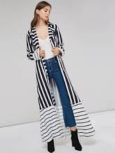 Long Notched Lapel Stripe Patchwork Women's Jacket(No Belt)