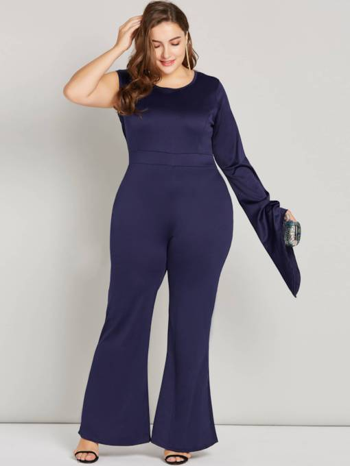 One Shoulder Round Neck Skinny Women's Jumpsuit