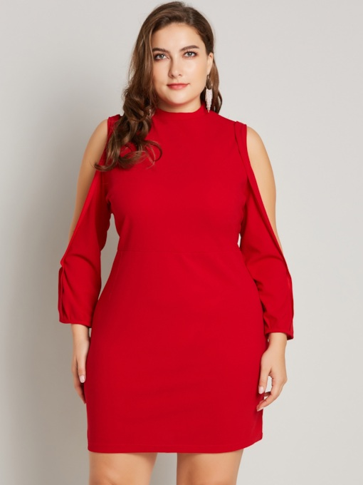 Plus Size Stand Collar Hollow Women's Long Sleeve Dress