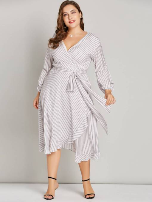 V-Neck Stripe 3/4 Length Sleeves Women's Day Dress