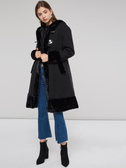 Horn Button Plain Flocking Long Sleeve Women's Overcoat
