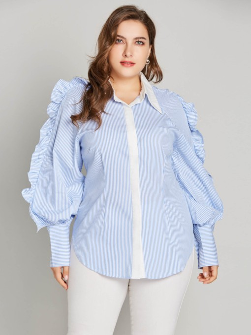 Hidden Button Lantern Sleeve Plus Size Women's Blouse